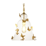 Vintage Glass Bell Butterfly Pendant Light