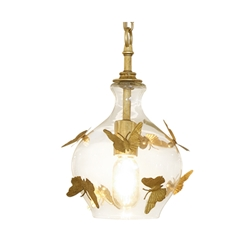 Vintage Glass Bell Pendant Butterfly Light